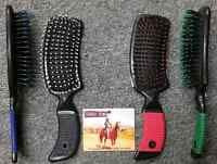 Tough 1 New Equine Mane and Tail Brush Comb Grip Handle Horse Pink Blue Red