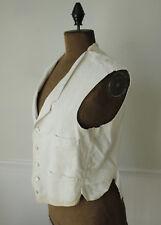 Men's white vest waistcoat French chore work wear pinstripes stripes striped