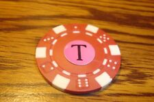""" T "" Monogram Dice design Poker Chip,Golf Ball Marker,Card Guard Red/White"