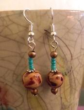 Ohrringe Modeschmuck Holzkugeln + türkis Perlchen Handarbeit - Haken silber 925