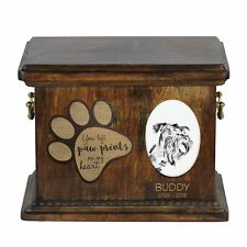 Cesky Terrier - Urn for dog's ashes with ceramic plate and description Usa