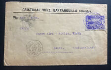 1903 Barranquilla Colombia Commercial Cover To Basel Switzerland Via New York
