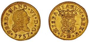 1/2 Gold ESCUDO - Gold. Ferdinand VI - Fernando VI Madrid 1757. Au/UNC