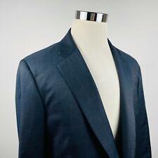 Paul Stuart Mens 42L Sport Coat Dark Blue Check 100% Wool Two Button Vented
