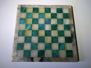 """Vintage marble chess board teal color 11"""" square"""