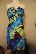 CACHE Island Resort Turquoise Blue Yellow Brown Silk Bra Dress 12 L NWT