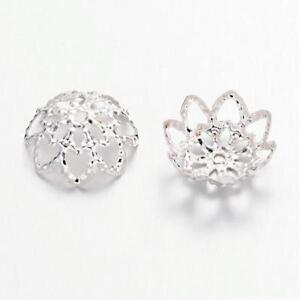 100 Stück Perlenkappen 10x4mm Kappen Blume Perlen Silberfarben filigran (1318)