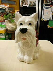 Sleigh Bell Bistro White Scottie Dog Cookie Jar with Red Plaid Ribbon Bow 2017