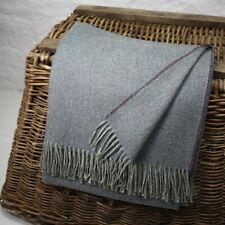 Blue Basket Weave 100% Wool British Made Tweed Fabric Blanket Throw *Not Harris