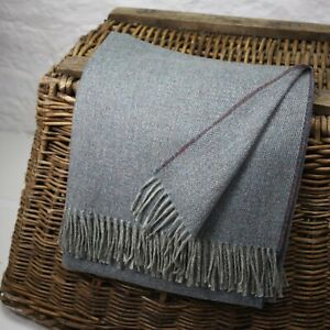 Blue Basket Weave 100% Wool British Made Tweed Fabric Blanket Throw *Not Harris