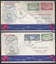 US HONG KONG 1937 TWO FIRST FLIGHT COVERS HONG KONG TO SAN FRANCISCO & GUAM TO H