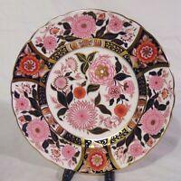 "English Royal Crown Derby Porcelain Cabinet Plate 8 1/2"" Pink Bouquet Imari"