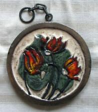 Runde Platte zum Aufhängen - Alpenveilchen - Keramik - 18 cm