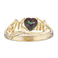 14Kt Yellow Gold Plated Natural Mystic Topaz & Diamond Heart Mom Ring