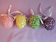 Easter - Hanging - Decorated Egg Ornaments - Sequins - Sparkle