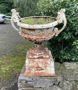 Pair Vintage Cast Iron Garden Planter Urns