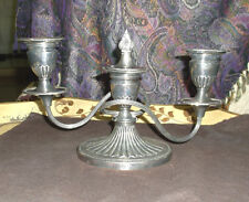 ANTIQUE ELLIS-BARKER ENGLISH SILVERPLATE TWO-LIGHT CANDELABRA WITH CENTER INSERT