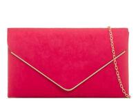 Ladies Designer Suede Envelope Style Clutch Bag Evening Bag Handbag Purse K1616