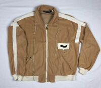 Vtg Pierre Cardin Mens Unisex Dark Beige/White Full Zip Track Jacket Sz Medium