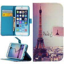Flip Schutz Handy Hülle Cover Kartenfach Case Klapp Etui Motiv Paris Bunt