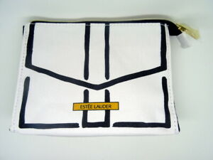 ESTEE LAUDER White and Black Canvas Cosmetic Bag, unboxed, never been used!