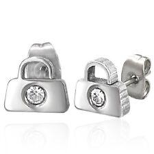 Stainless Steel Designer Handbag Purse With CZ Stud Earrings b47