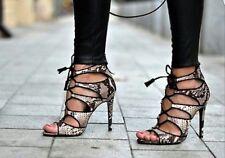 *NEW* Zara High Heel Snake Print Leather Sandal size EU 40 (US 9)