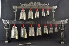 Old Handwork Copper & Alloy Carving 12 Bell Dragon Instrument Chime d01