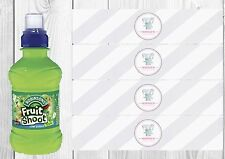6 Baby Shower Girl, Elephant, Personalised Fruit Shoot Bottle Wrappers Favour