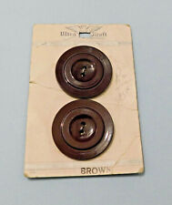 "Vintage 40s-50s Big Brown Buttons Shiny 2-Hole 1¼""  Rimmed 2 on Card"