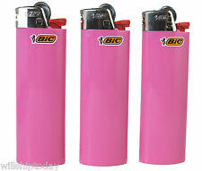 3 Pink Bic Lighters - Standard Size Solid All Pink Bic Lighters