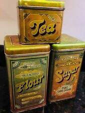 Golden Harvest Tin Canisters 1970s Vintage flour sugar tea