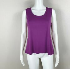 EILEEN FISHER Tank Top - Silk Stretch Jersey Raisin Scoop Neck Size Small - NTSF