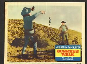 1958 MOVIE LOBBY CARD #1-0178 - GUNMANS WALK - TAB HUNTER - VAN HEFLIN