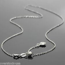 17.5INCH Solid 18K White Gold Heart Necklace O Link Chain / 2.22g Adjustable