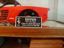 Ferrari F40 Metal Display Plaque For Models 1/8 1/12 1/16 1/18 1/24 1/43 Pocher