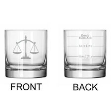 11oz Rocks Whiskey Glass 2 Sided Lawyer Law Attorney Scales Of Justice Paralegal