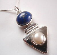 Lapis and Cultured Pearl on Triangle 925 Sterling Silver Necklace