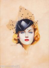 1940s Pin-Up Girl Beautiful Woman Hat Pin Up Picture Poster Print Vintage Art
