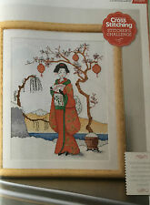 Cross Stitch Chart Geisha Girl Picture Oriental Lady Design Pattern Only
