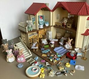 Calico Critters Cloverleaf Luxury Townhome Townhouse Furniture Figures Huge  Lot