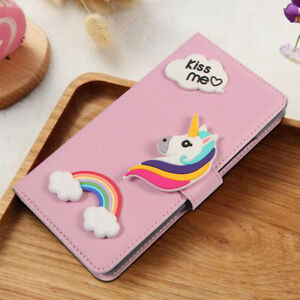 Fashion Pink Kiss me Rainbow Unicorn PU Leather Wallet Flip Case Cover For HTC