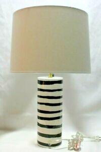 Kate Spade Charlotte Street Zebra Stripes Porcelain Table Lamp & Shade New