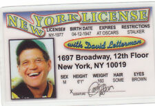 David Letterman - Late Night Talk Show Host - plastic ID card Drivers License -