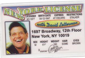 David Letterman - Late Night Talk Show Host - plastic ID card Drivers License -