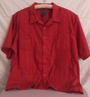 TropiCool Men's Red Guayabera Shirt Cigar Cuban Wedding Size 3XL