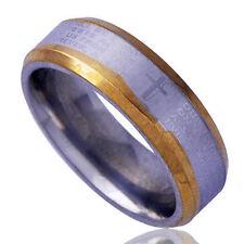 Two Tone GF Holy Bible Cross Pattern BAND Infinity Opal Ring jewelry Size 7