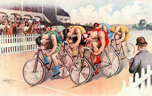 Bicycle Race, Detroit 1895, Vintage Antique Style, HD Art Print or Canvas