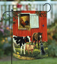 NEW Toland - Old McDonald's Farm - Barnyard Cow Horse Pig Cat Barn Garden Flag