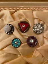 5 VINTAGE ANTIQUE Art Deco RHINESTONE Diamond STATEMENT BUTTONS Unique!